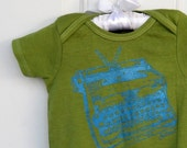 typewriter cotton baby onesie bodysuit in apple green or custom colors