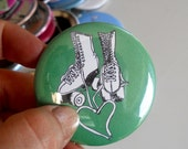 Green roller skate  Pin back Button with heart shaped shoestrings, Hand Made, Flair, Pinback badge, Small Gift or Party Favor, Roller Derby