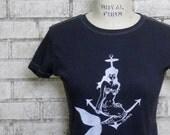 Mermaid T Shirt, Ladies cotton crew neck tee, Navy Blue, nautical, ocean