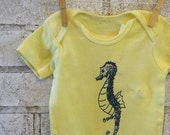 Seahorse Baby Bodysuit, Cotton Infant Creeper, One Piece Snapsuit, Yellow, Ocean, Nature, Short Sleeved, screenprinted baby clothing