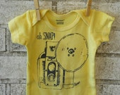 Oh SNAP  Camera Infant Creeper, Baby Bodysuit, Snapsuit, One Piece, in butter yellow or custom colors
