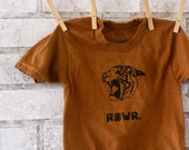 "Childrens Tiger Tshirt, Tiger ""Rawr"" Roaring Children or Toddler tshirt,  in Rust or Custom colors"