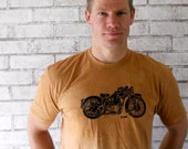 Men, Tshirt, Motorcycle Tshirt, Mens cotton crew neck, rust orange or custom colors