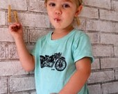 Toddler Tshirt, Vintage Motorcycle  in toddler and childrens sizes, dyed green or custom colors