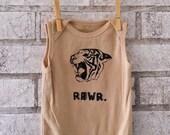 Tiger Baby Onesie, Tank top baby bodysuit,in unisex beige or custom colors