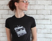 Typewriter TSHIRT, Ladies Cotton Crewneck Tshirt Drawing of Royal Brand Vintage Typewriter In Black, Hand Printed, Screenprint, Writer Gift