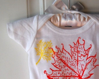 Cotton Baby Onepiece, Fall Leaves, Leaf,  Onepiece sizes 0-18months maple leaf baby bodysuit, Autumn Leaves, Hand Printed, Screenprint Shirt