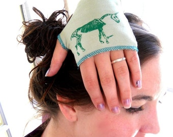 Fingerless gloves, Unicorn Skeleton arm warmers in light green or custom colors