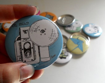Oh SNAP vintage camera  Pin back Button  in blue or custom colors, Great stocking stuffer