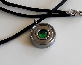 roller skate Bearing Pendant, Faceted green Cubic Zerconia,  looks like emerald Roller Derby Jewelry Gift For Derby Wife, Hand Made Necklace
