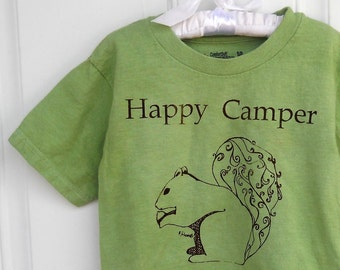 Happy Camper Youth Tshirt Screenprinted With a Squirrel, Graphic Tee, BRIGHT Apple Green, Short Sleeve Cotton Crewneck Unisex T Shirt spring