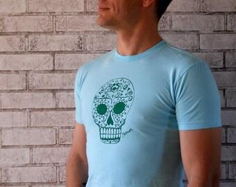 Day of the dead sugar skull  MENS Cotton Crew-neck Tshirt light blue or custom colors.