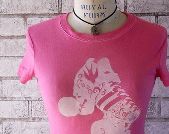 Woman's Roller Derby Tshirt, Ladies Roller Derby Skate Cotton crew neck tee shirt in hot pink, Screenprinted Shirt, Roller Rink Skater