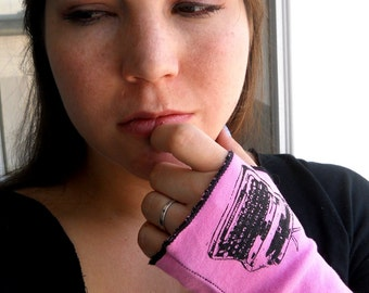 Fingerless Glove Screenprinted  With A Typewriter, Hot Pink, Short Arm Warmers, Wrist Warmers, Wrist Guard Panties, Roller Derby, Hand Sewn