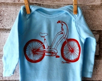 Long Sleeved Cruiser Bicycle Baby Bodysuit, Infant Creeper, One Piece Snapsuit, Light Blue