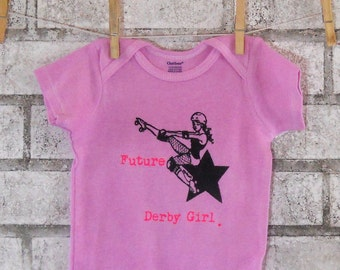 Roller Derby Baby Onepice, Future Derby Girl Baby Bodysuit, Infant Creeper, pink or custom colors