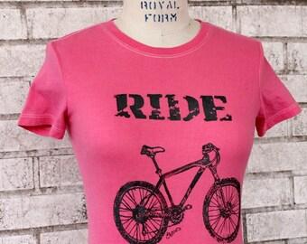 "Bicycle T Shirt, Womens Mountain Bike ""ride"" tshirt in hot pink, Cotton Crewneck"