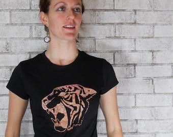 Womens Tshirt, Ladies Roaring Tiger Shirt, Tee Shirt, Black, Zoo Animal, Circus Animal, Short Sleeved Screenprinted Tshirt, Cotton Crewneck