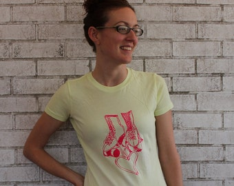 Women's Roller Skate Tshirt, roller derby tee shirt,  Roller Rink Skate Party Top in Light Yellow, Short Sleeved, Hand Printed, Screenprint