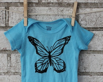 Baby Bodysuit Screen printed with A Butterfly, infant creeper, one piece snapsuit, Light Aqua Blue, Short Sleeved, hand printed onepiece