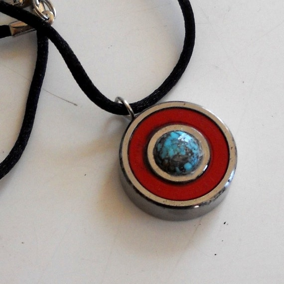 Turquoise reversible skate bearing Pendant, Great stocking stuffer, Hand Made Jewlery Derby Wife Gift Roller Derby Skater Red and Light Blue