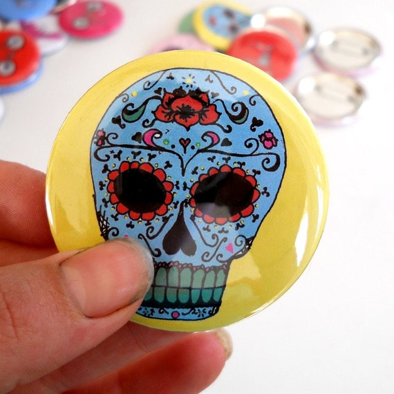 Sugar Skull Pin back Button  in blue and yellow or custom colors-great stocking stuffer