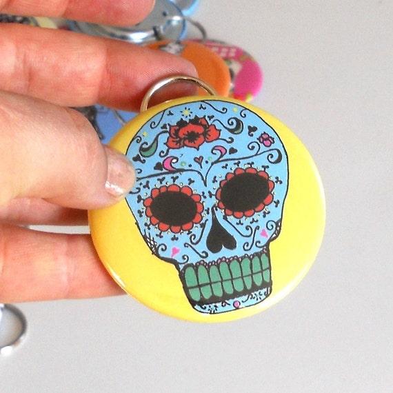 Sugar Skull Bottle Opener key chain in yellow or custom