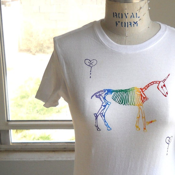 Unicorn skeleton Tshirt, undead rainbow unicorn,  in White or custom colors