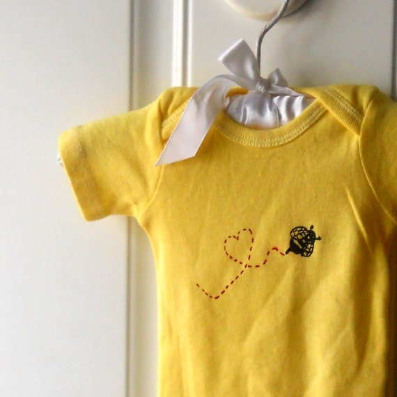 Bee Cotton Baby Bodysuit, Infant One Piece Snapsuit, Lemon Yellow, Insect, Busy  Bee, Spring and Summer, Unisex Baby Clothing Shower Gift