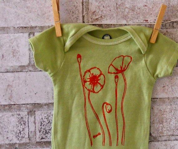 Poppy field short sleeved baby bodysuit in apple green cotton for Apple green dress shirt