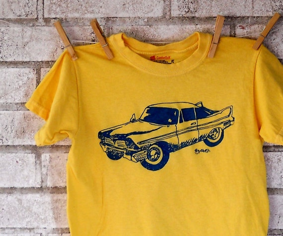 Childrens Classic Car Tshirt, Plymouth Fury Tee shirt, Lemon Yellow, Summer Bright, Short Sleeved, Screen-printed Automobile T Shirt, Cotton
