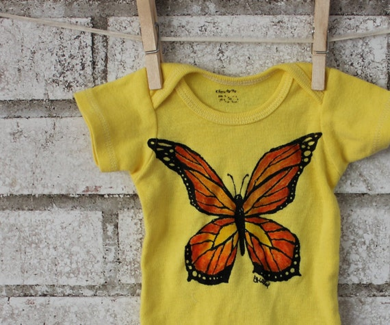Butterfly Baby Onepiece, Cotton Baby Bodysuit,  Lemon Yellow, Hand Printed and Colored, Summer Garden, Insect Nature Inspired