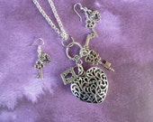 32 inch Silver Key to My Heart Necklace