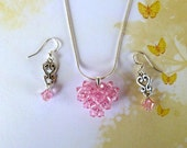 Small Crystal Puffy Heart Necklace in Light Rose with Coordinating Earrings