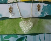 Crystal Puffy Heart Necklace in Crystal Clear with Coordinating Earrings