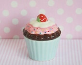 Ceramic Jewelry Box with Lid, Cup Cake Shape, Baby Blue Cup Cake - Strawberry Topping