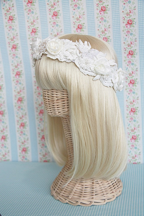 BoHo Chic - Thai Silk and Feathered Headband - IVORY BRIDAL Vintage Inspired Hair Accessories - Ready to Ship