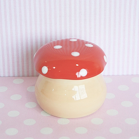 Ceramic Jewelry Box with Lid, Lovely Red Mushroom Shape