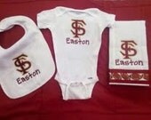 Florida State Custom Embroidered Bib, Burp Cloth and One Piece Baby Gift Set