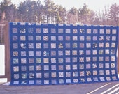 blue and white quilt, queen full  hand quilted Liberty of London