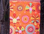 Orange Aqua Art Quilt Wall Hanging FLYING CARPET No. 18 Kaffe Fassett fabric, original design, hand quilted