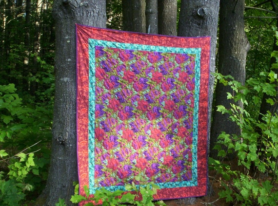 hand quilted lap quilt, throw quilt, sofa quilt, floral quilt, Kaffe Fassett quilt, Philip Jacobs fabrics