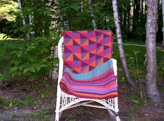 Reserved for Carla: Queen quilt original design hand quilted Kaffe Fassett fabric