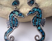 Reserved Reserved Seahorse Earrings Mexican Turquoise and Silver