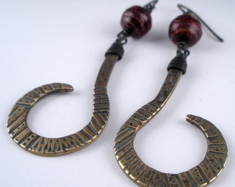 Bronze and Venetian Glass Curl Earrings