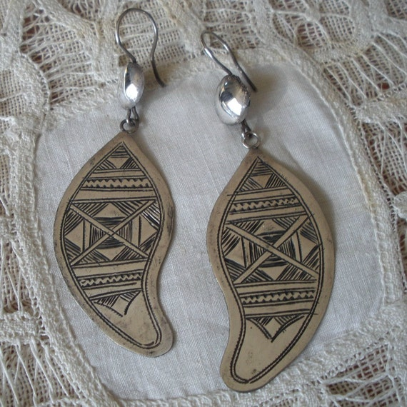 Ethnic North African Tuareg Sterling Earrings Heavily Etched and Signed