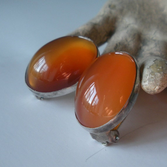 Superb Carnelian and Sterling Earrings Superb Glowing  Stones Clip On