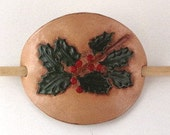 Leather Hair Barrette Holly Red Berries