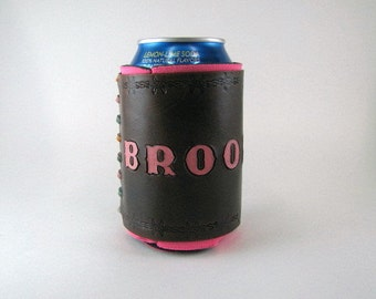 Leather Can Holder Brooklyn Barbed Wire Leather Can Cooler Hand Tooled Leather Can Chiller Leather Can Holder