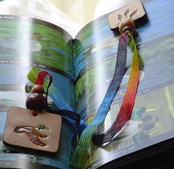 Leather Bookmark Mallard Duck with Cattails Ready to Ship Hand Stamped Hand Tooled Ribbon Bookmark Leather Duck Hunter Gift Wooden Beads